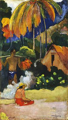 Landscape in Tahiti.Mahana Maa Print by Paul Gauguin