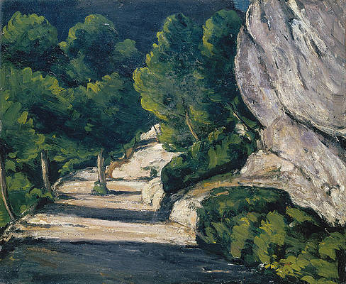 Landscape. Road with Trees in Rocky Mountains Print by Paul Cezanne