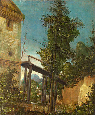 Landscape with a Footbridge Print by Albrecht Altdorfer