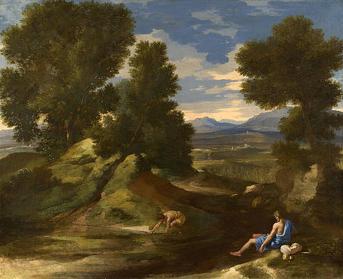 Landscape with a Man scooping Water from a Stream Print by Nicolas Poussin