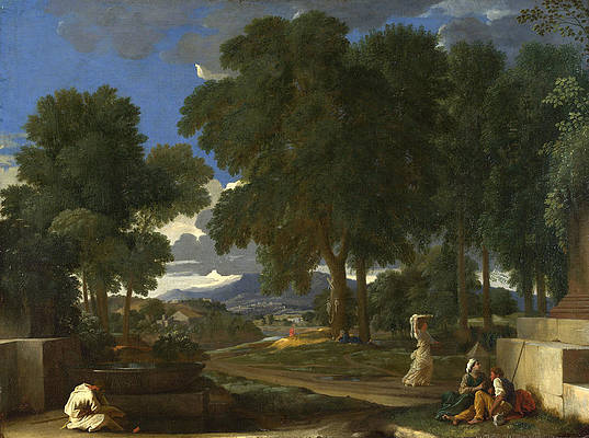 Landscape with a Man washing his Feet at a Fountain Print by Nicolas Poussin
