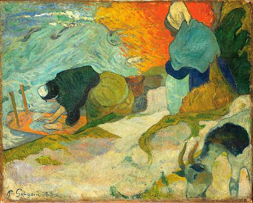 Laveuses a Arles.Washerwomen in Arles Print by Paul Gauguin