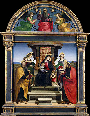 Madonna and Child Enthroned with Saints Print by Raphael