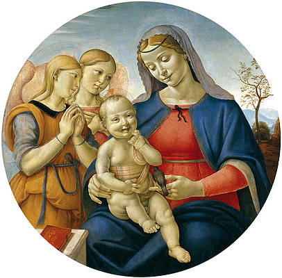 Madonna and Child with Angels Print by Attributed to Piero di Cosimo