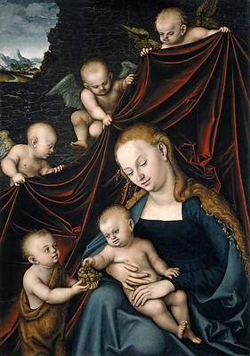 Madonna and Child with Saint John and Angels Print by Lucas Cranach the Elder