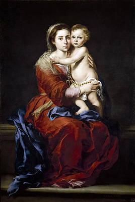 Madonna of the Rosary Print by Bartolome Esteban Murillo