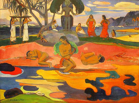 Mahana No Atua Aka. Day Of The Gods Print by Paul Gauguin