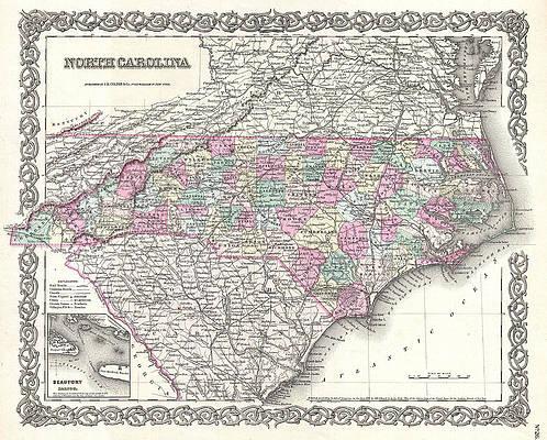 Map of North Carolina Print by Joseph Hutchins Colton