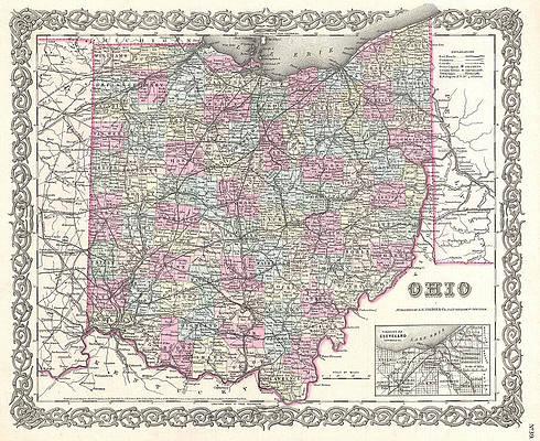 Map of Ohio Print by Joseph Hutchins Colton