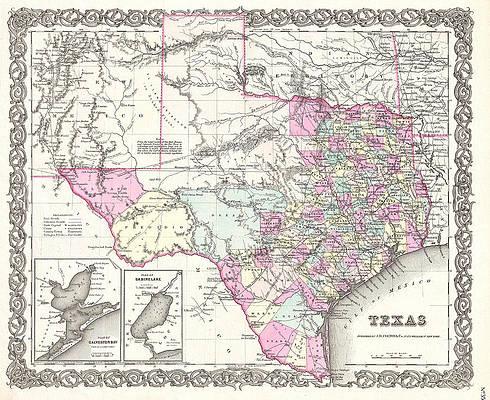 Map of Texas Print by Joseph Hutchins Colton
