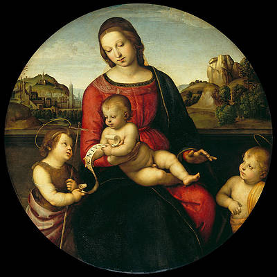 Mary with the Child John the Baptist and a Holy Boy. Madonna Terrranuova Print by Raphael
