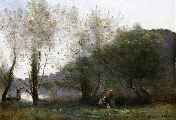 Morning on the Estuary. Ville d Avray Print by Jean-Baptiste-Camille Corot