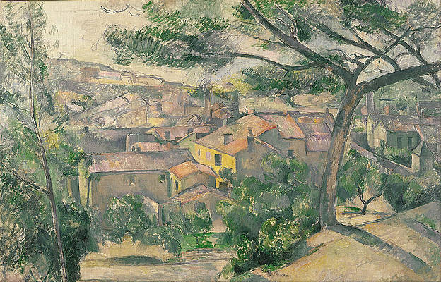 Morning View of L Estaque Against the Sunlight Print by Paul Cezanne