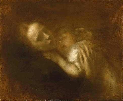 Mother and Child Sleeping Print by Eugene Carriere