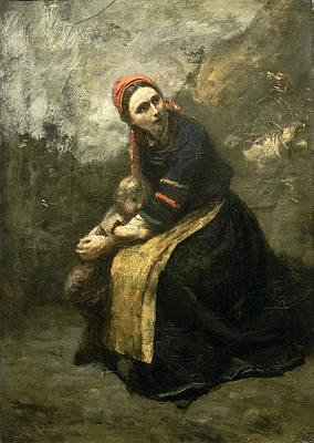 Mother Protecting Her Child Print by Jean-Baptiste-Camille Corot