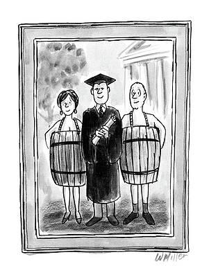 Рисунок выпускной фуражки - New Yorker 26 мая 1986 года Уоррена Миллера