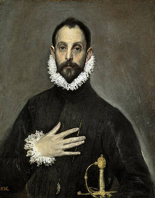 Nobleman with his Hand on his Chest Print by El Greco