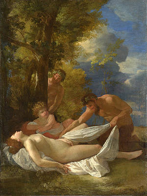 Nymph with Satyrs Print by Nicolas Poussin