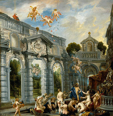 Nymphs at the Fountain of Love Print by Jacob Jordaens