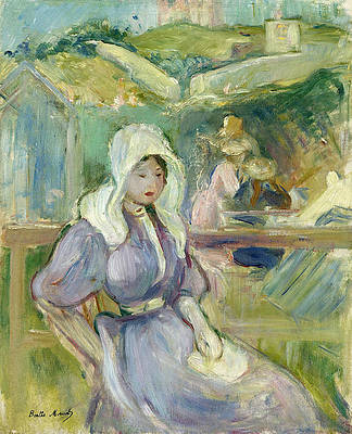 On the Beach at Portrieux Print by Berthe Morisot
