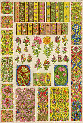 Realistic Flower Drawing - Ornaments From A Persian by Mary Evans Picture Library