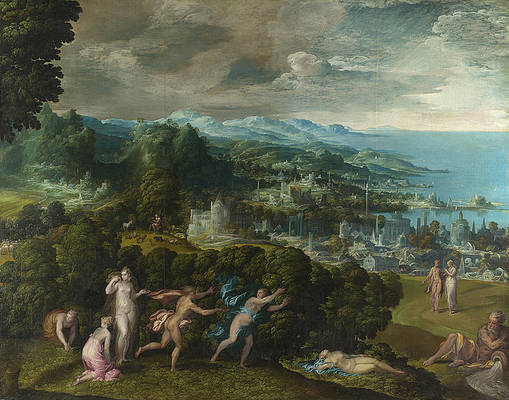 Orpheus and Eurydice Print by Niccolo dell Abbate