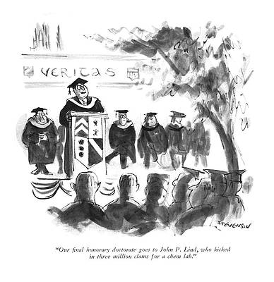 Graduation Cap Drawing - Our ?nal Honorary Doctorate Goes To John P. Lind by James Stevenson