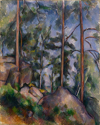 Pines and Rocks.Fontainebleau Print by Paul Cezanne