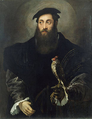Portrait of a gentleman with a falcon Print by Niccolo dell Abbate
