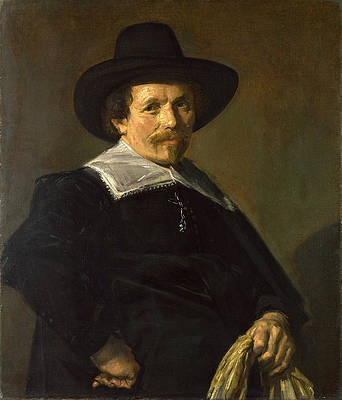 Portrait of a Man holding Gloves Print by Frans Hals