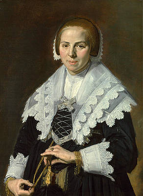 Portrait of a Woman with a Fan Print by Frans Hals