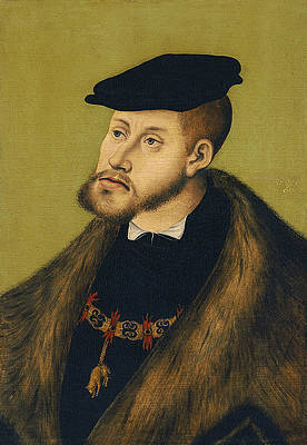 Portrait of the Emperor Charles V Print by Lucas Cranach the Elder