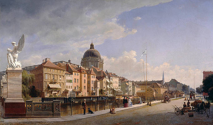 Rear view of the Houses at Schlossfreiheit Print by Eduard Gaertner