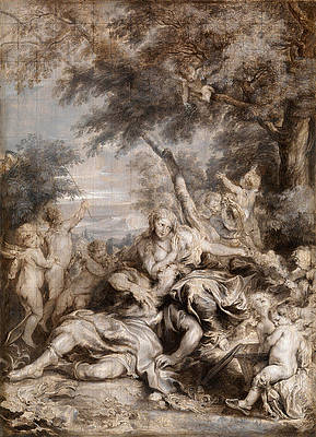 Rinaldo conquered by Love for Armida Print by Anthony van Dyck