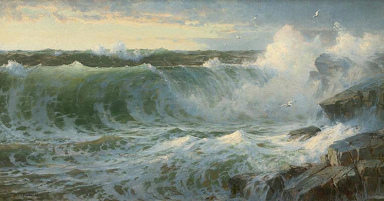 Rocky Surf Off Rhode Island Print by William Trost Richards