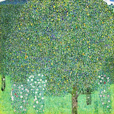 Rosebushes under the Trees Print by Gustav Klimt