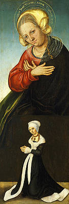 Saint Anne with the Duchess Barbara of Saxony as Donor Print by Lucas Cranach the Elder
