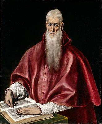 Saint Jerome as Scholar Print by El Greco