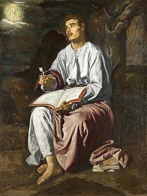 Saint John the Evangelist on the Island of Patmos Print by Diego Velazquez