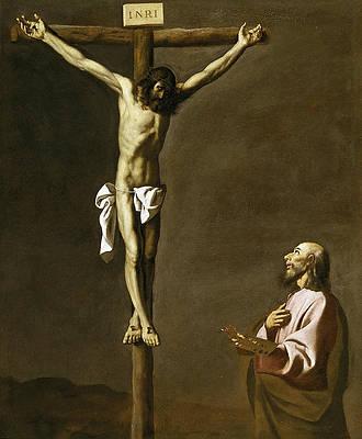 Saint Luke as a Painter before Christ on the Cross Print by Francisco de Zurbaran