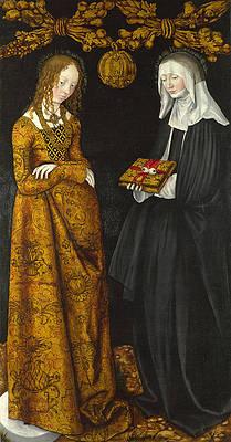 Saints Christina and Ottilia Print by Lucas Cranach the Elder