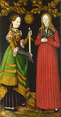 Saints Genevieve and Apollonia Print by Lucas Cranach the Elder