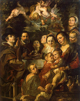 Self-Portrait with Parents Brothers and Sisters Print by Jacob Jordaens