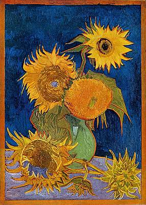 Six Sunflowers Print by Vincent van Gogh