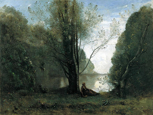 Solitude. Recollection of Vigen Limousin Print by Jean-Baptiste-Camille Corot