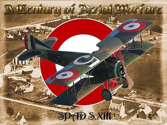 Eddie Rickenbacker by Mark Karvon WWI Decor Aviation Art Prints SPAD XIII