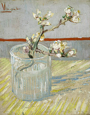 Sprig of flowering almond in a glass Print by Vincent van Gogh