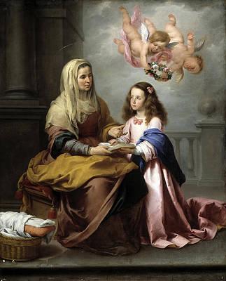 St. Anne teaching the Virgin to read Print by Bartolome Esteban Murillo