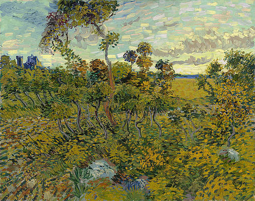 Sunset at Montmajour Print by Vincent van Gogh