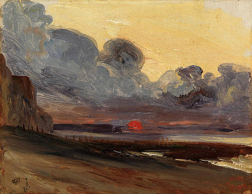 Sunset on the Normandy Coast Print by Eugene Isabey